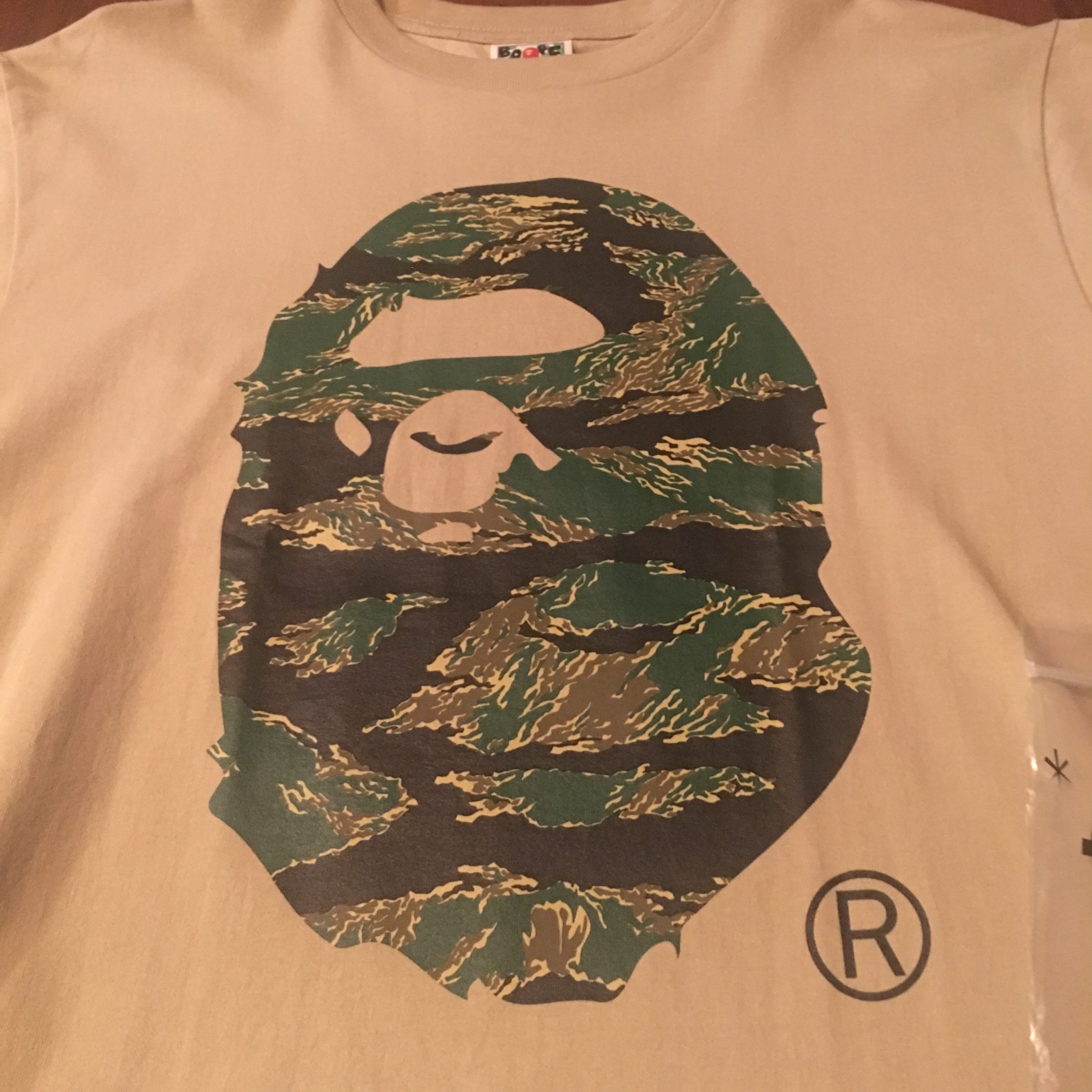 94eab0103 BRAND NEW BAPE TIGER CAMO BIG APE HEAD TEE IN BEIGE ...