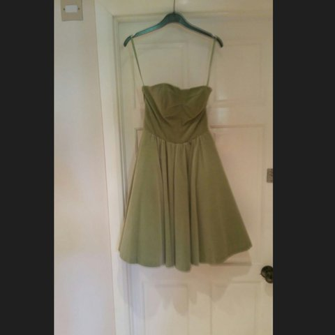 5e1766eba Ted Baker mint green strapless suede ballerina dress. Worn a - Depop