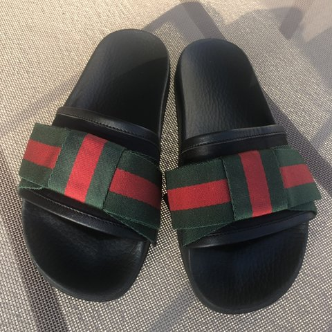 32756d24915 Authentic Gucci Satin Slide with Web Bow. Size 36 (US size 5 - Depop