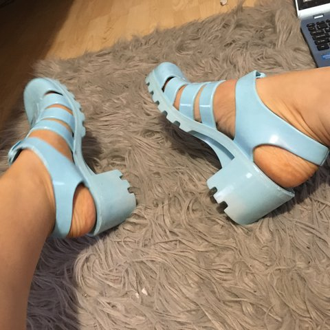 69f82d0b6df1 Juju size 6 baby blue jelly sandals with chunky heel. Socks - Depop