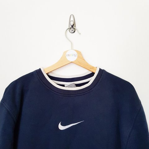 Vintage Nike swoosh sweatshirt with embroidered - navy blue - Depop 6bd93cc3f