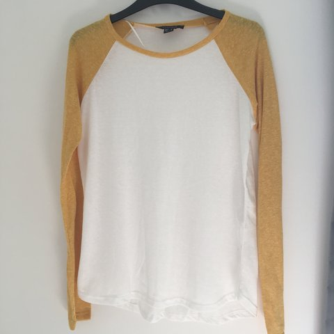 55d8cae90ad2 @emilylord11. 8 months ago. Folkestone, United Kingdom. Yellow and white  baseball tee. Worn once so great condition. Long sleeved