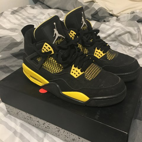 cf7d7a20c9684d Nike air Jordan retro 4 thunder very rare colour way in and - Depop