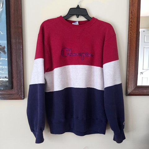 1b677712bde red white and blue striped Champion sweatshirt! in great fit - Depop