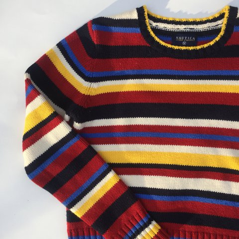 Blue Red And Yellow Striped Sweater Its A Kids Medium And Depop