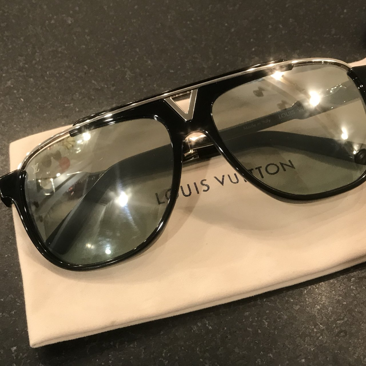 "b8dbec139a Authentic Louis Vuitton ""mascot"" chrome reflection dark tint - Depop"