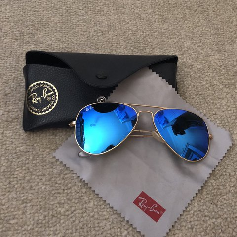 dd36b153e00a6 Selling my blue mirrored 100% authentic RayBan s. Sunglasses - Depop