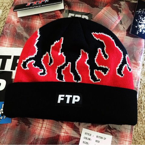 cb1014e69a197 FTP BRAND NEW RED FLAME BEANIE FUCK THE POPULATION is - Depop
