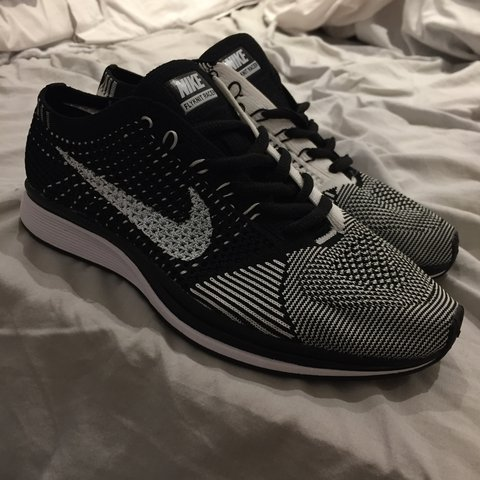 c8a289dc97bd BRAND NEW!! Nike Flyknit Racer trainers black and white size - Depop