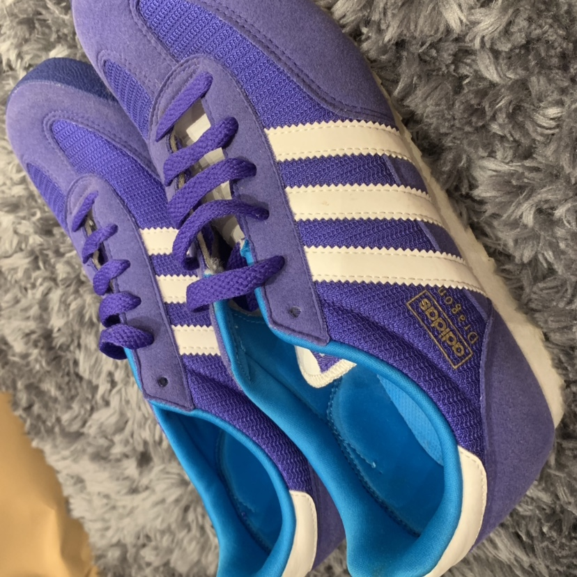 Purple Adidas dragons size 5, only worn once, in...