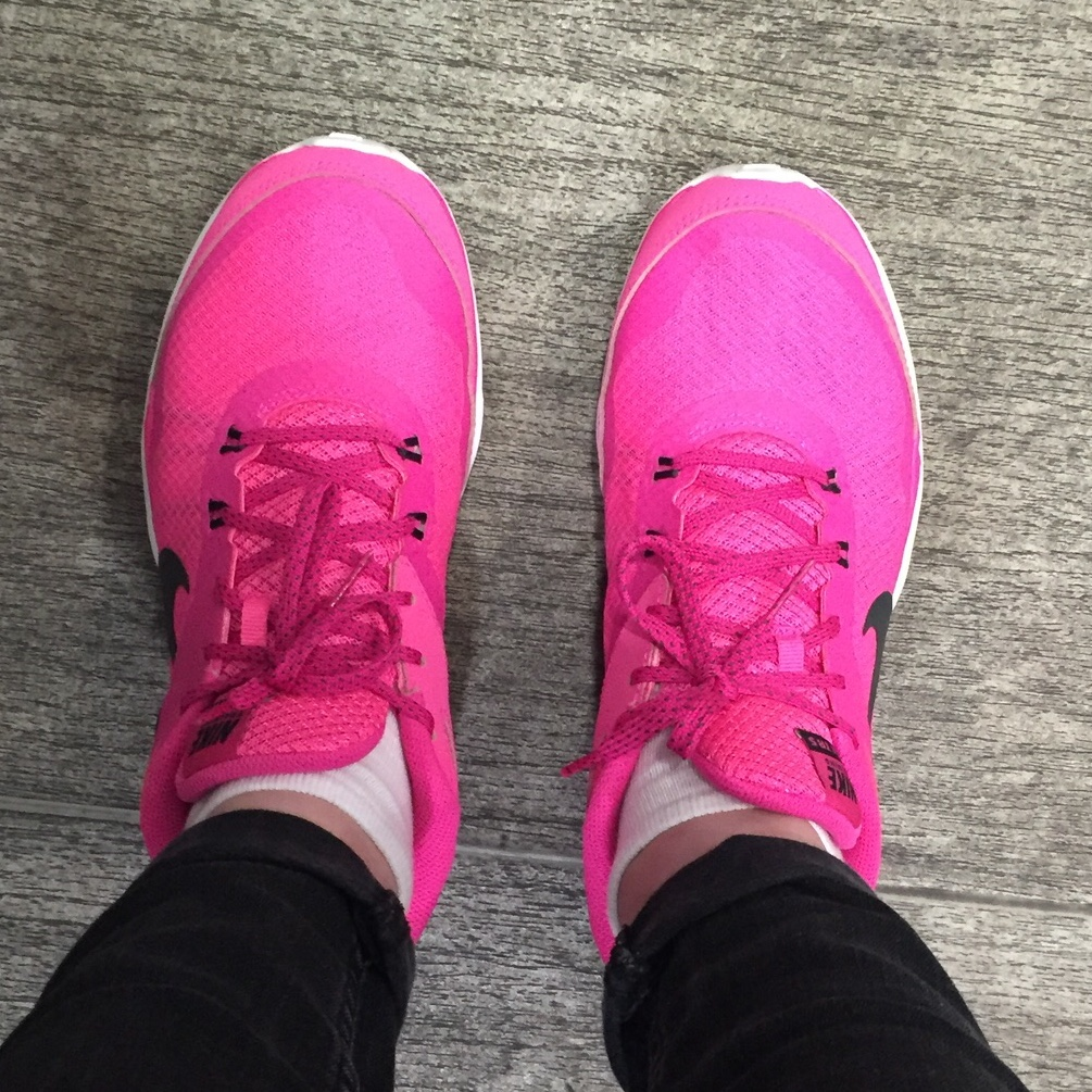 Bright pink Nike trainers. Used but