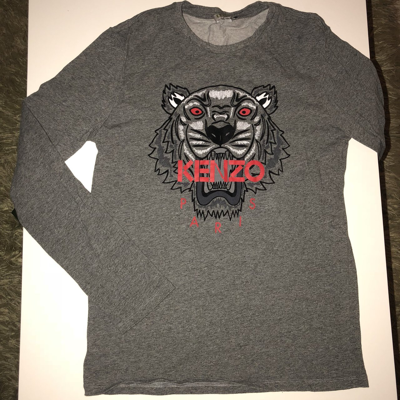 Age 14 Kenzo long sleeve t-shirt Grey and red No stains - Depop 7300ede48d0c
