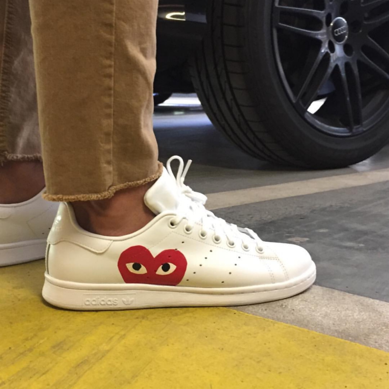 Comme des Garçons x Stan Smith customized sneakers... - Depop