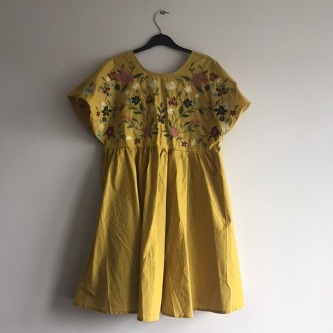 671f26fc8e @caz_gamblin. 27 days ago. Southampton, United Kingdom. Uk M SHEIN mustard  embroidered flower shift dress with criss ...