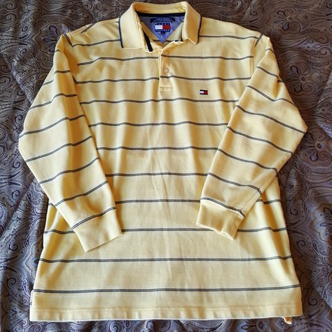 836f007fe Vintage 90s Tommy Hilfiger Striped Long Sleeve Rugby yellow - Depop