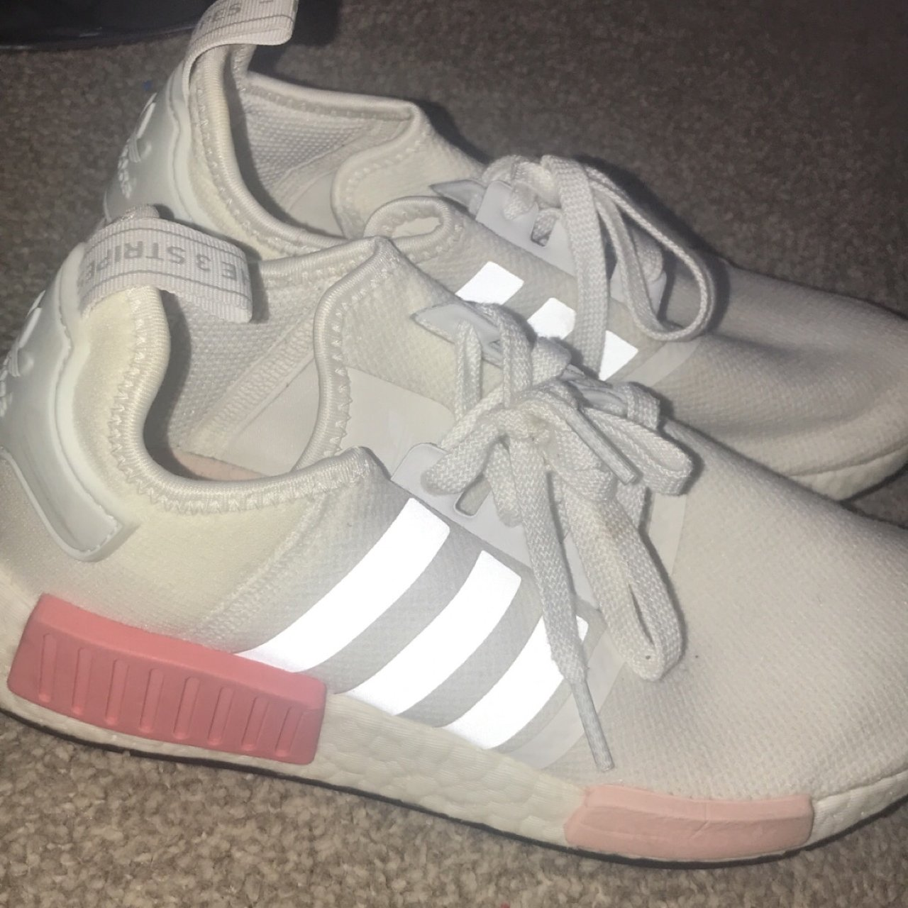 Adidas nmd white and pink size 7 only worn 3-4 times as they - Depop 6e199f95b