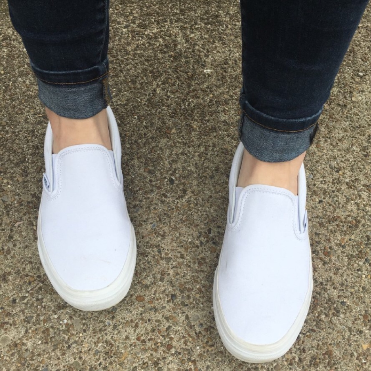ALL WHITE VANS SLIP ONS - these are