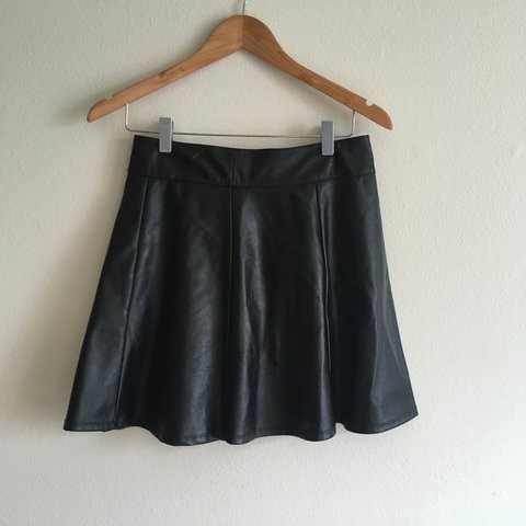 459965cff0 Faux leather skater skirt. Size small 🖤free shipping🖤 - Depop