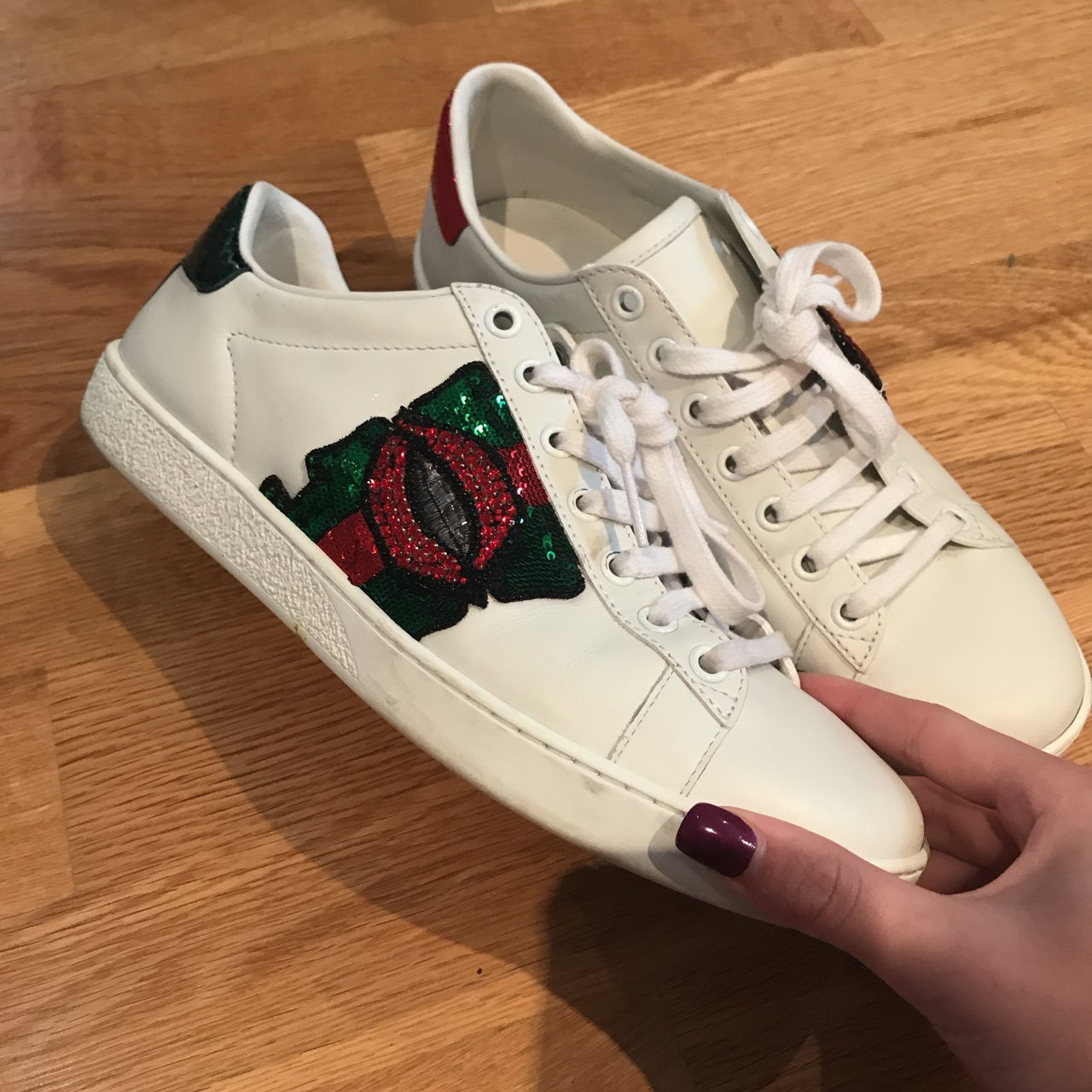 8dc633c0c51 Gucci sneakers with embellished lips. There are no gems for - Depop