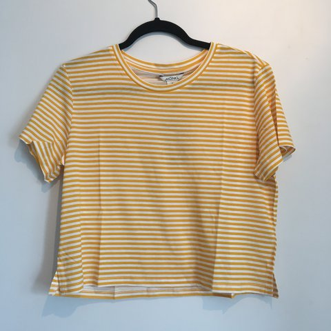 86fff3ad6c23c7 OPEN TO OFFERS Brand new monki yellow and white striped top - Depop