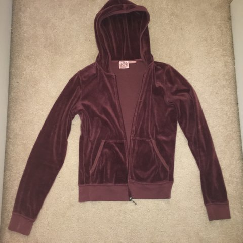cffb80dd48b6 Burgundy purple juicy couture zip up jacket. Size medium but - Depop