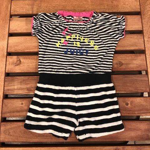 72f69e2fb01c Juicy couture baby girl one piece terry regal navy romper. - Depop