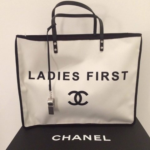 7fdc673fd7b2 @lilliekershaw. 3 years ago. Essex, UK. Authentic Chanel 'Ladies First'  Canvas Tote ...
