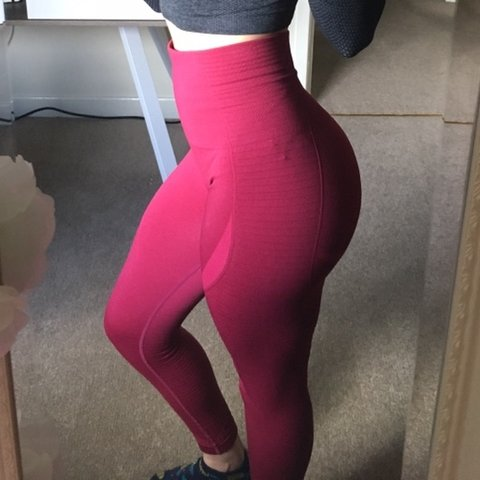 04ae00980bf08 @tashaemilie. 2 months ago. Poole, United Kingdom. Gymshark original red  beetroot seamless leggings ...
