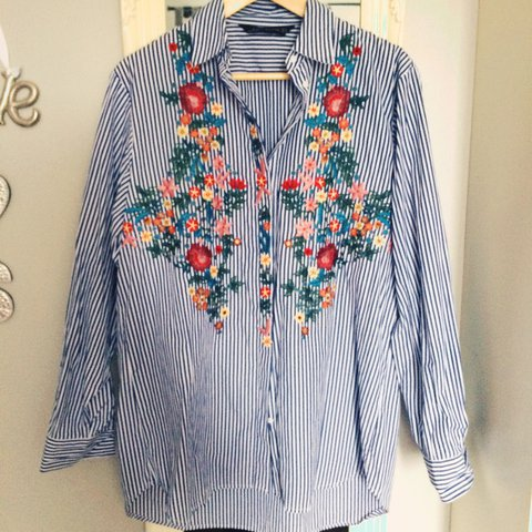 e8ed3db372 Gorgeous Zara blue pin striped with floral embroidery shirt. - Depop