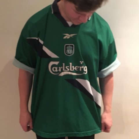 0c20b4d1ece Vintage Reebok Liverpool FC Shirt in green. From the away a - Depop