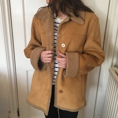 4a74236b3369eb @james27west. last year. Liverpool, United Kingdom. High quality vintage  shearling Coat / Jacket In Beige Tan Brown. Suede Sheepskin. Label states size  12 ...