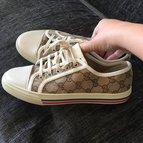 5f00b939bb8 Gucci women s trainers size 4 worn once so look brand new - Depop