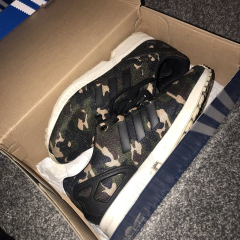3e044fd45 Adidas ZX Flux camouflage size 5.5 UK. Worn a couple of but - Depop