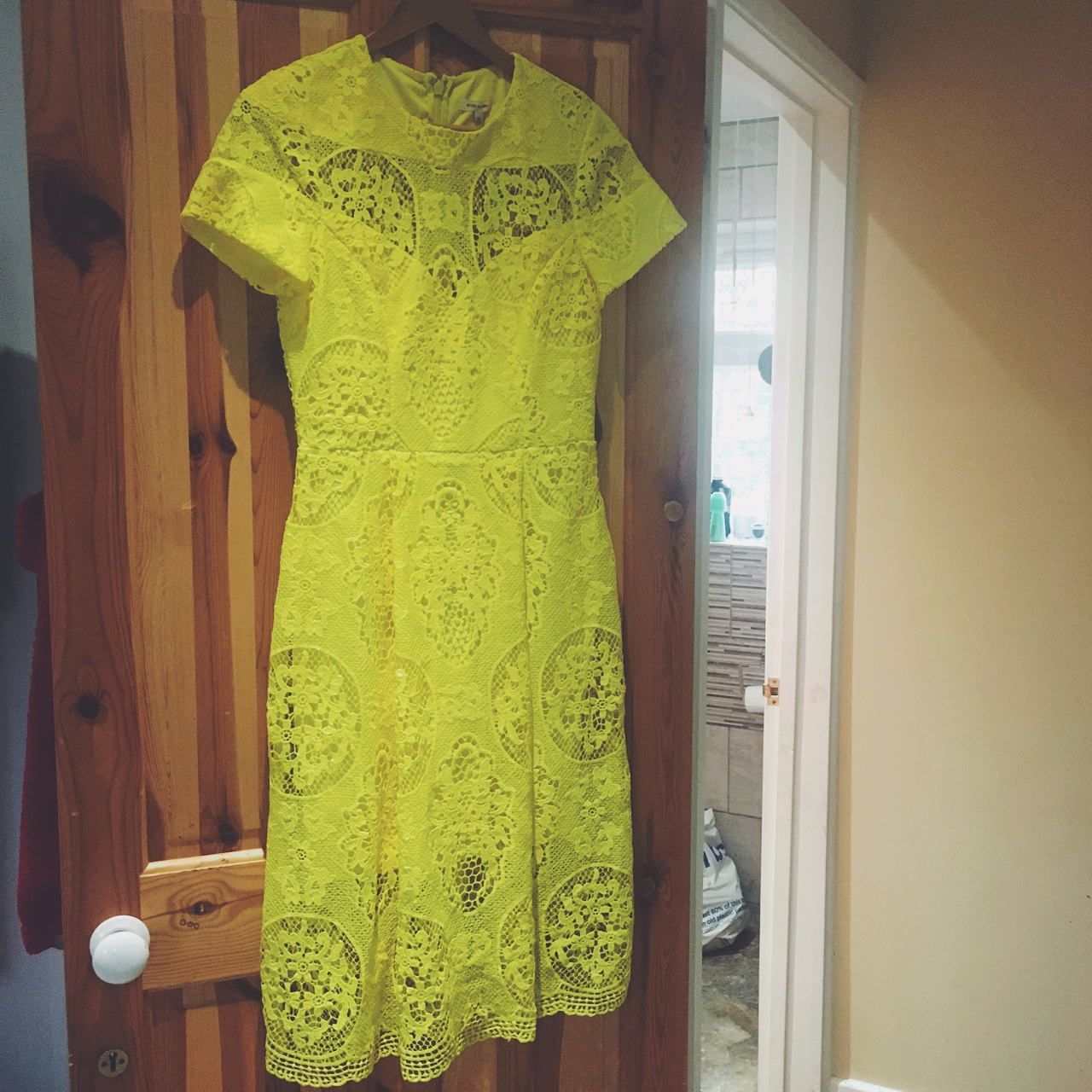 River Island Yellow Lace Dress Never Worn Depop