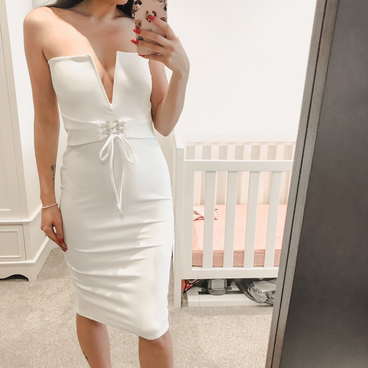 8a34e67deb3 Missguided white midi dress size 12! Lovely dress