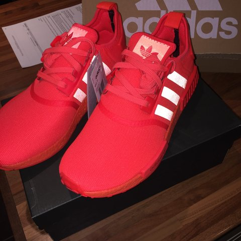 260ad06f8d8a0 Adidas NMD Solar Red    Triple Red    Reflective Stripes    - Depop