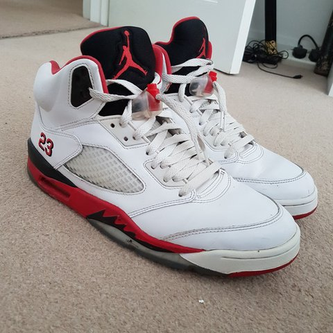 676c98f2a87 Size Uk10 Jordan 5 Fire Red colourway. My first ever pair of - Depop