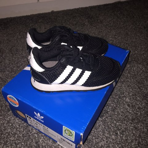 e10e555c8b39d1 Black and white Adidas N-5923 EL I toddler size 6. Worn a in - Depop