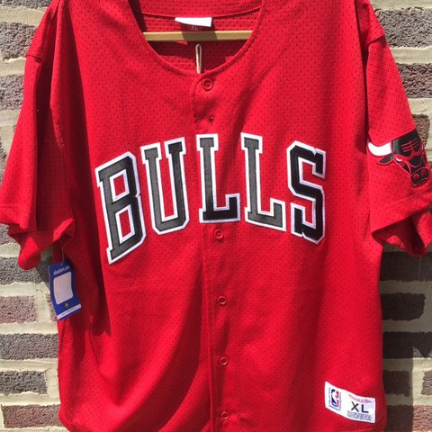 7f346ab2 @aray1017. 2 years ago. Philadelphia, PA, USA. New with tags Mitchell and Ness  Chicago Bulls baseball jersey. No flaws.
