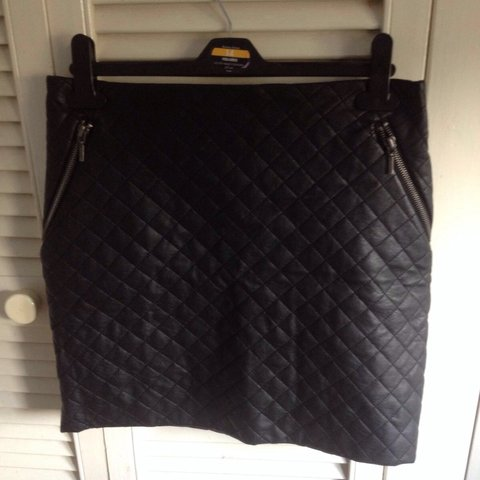 3e3ab199bc @mefi. 3 years ago. Dublin, Ireland. Black quilted A line leather mini skirt .
