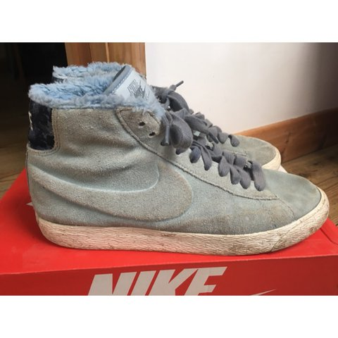 Nike blazer high top trainers, light blue , uk size 6 , worn - Depop