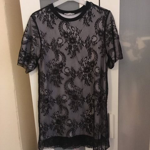 a16d65f83b Black lace dress with white shirt underneath from Zara. Such - Depop
