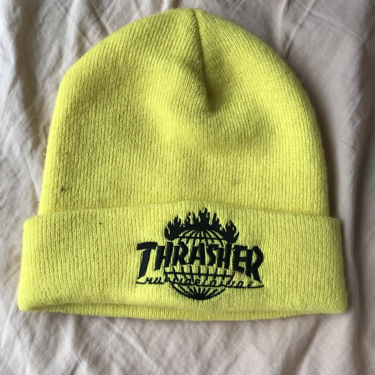 THRASHER X HUF COLLAB yellow beanie. Cozy for fall winter - Depop 98ea2b694bb