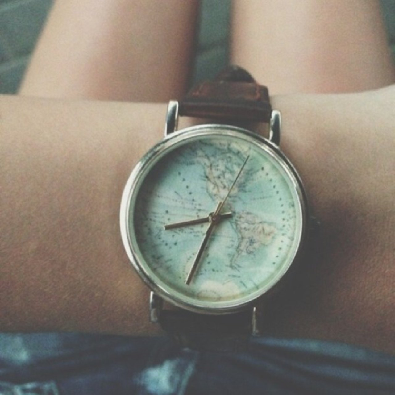 Urban Outfitters World Map Watch.Urban Outfitters Vintage World Map Watch With Brown Leather Depop