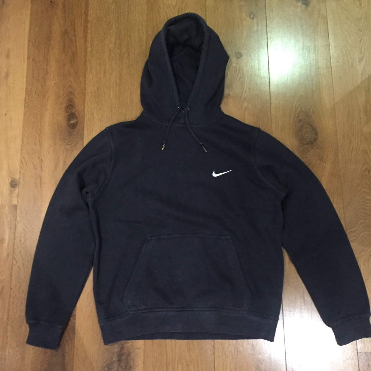 Black Nike Hoodie Jumper. With White Silver Tick Depop