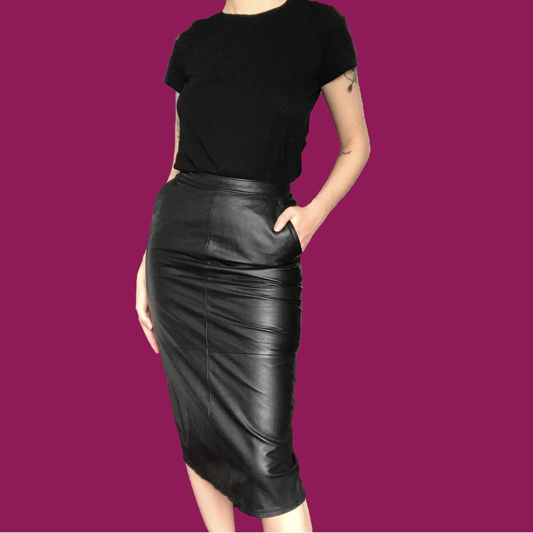 Leather mid lenght skirt Vintage