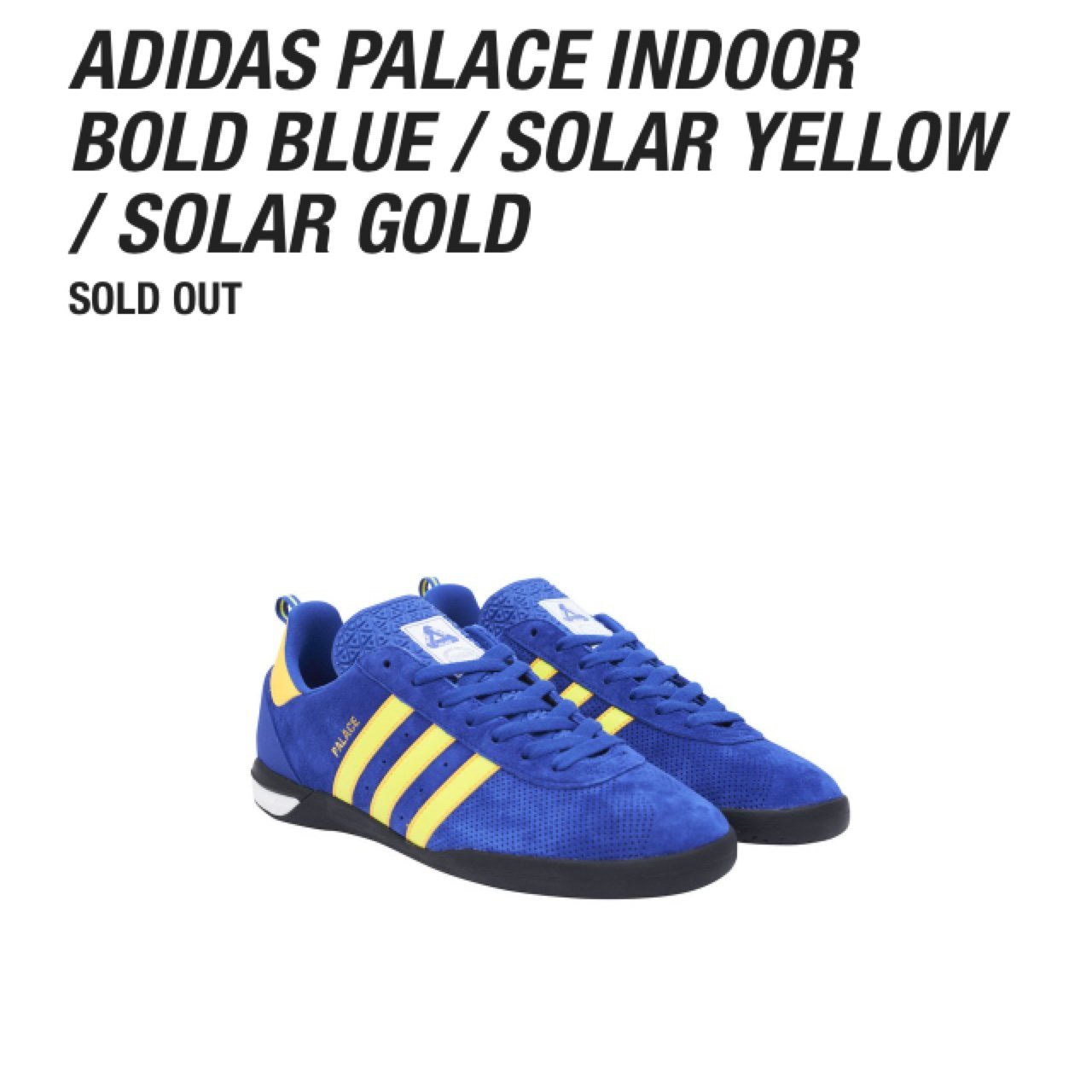 competitive price 68016 32ea7 Palace x Adidas Indoor Trainers - Size 10 In the Blue Solar - Depop