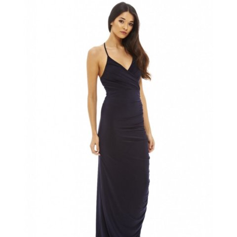 b28c02682782 AX Paris ruched slinky maxi dress in navy. Never worn and - Depop