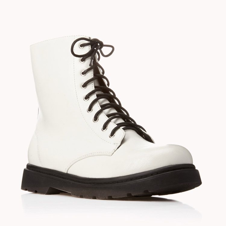 1567cc0cc6b NWT Forever 21 White Combat Boots — Never worn but... - Depop