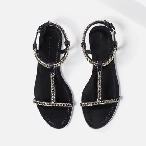 bd57da54ec6d ZARA black silver chain detail flat sandals Size  UK 8 (EU - Depop